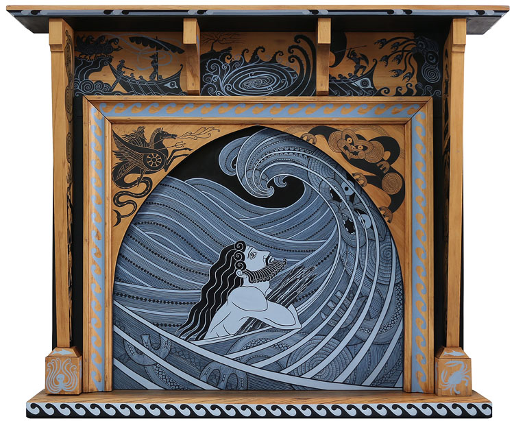 'Odysseus strays into the realm of Tangaroa' by Marian Maguire, 2016/17, acrylic on wood, 136 x 165 x 28cm, NFS