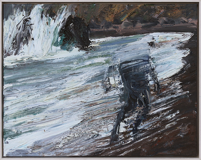 Bluff Beach study 1 (SOLD) by Euan Macleod, oil on polyester, 2017, 530 x 660mm