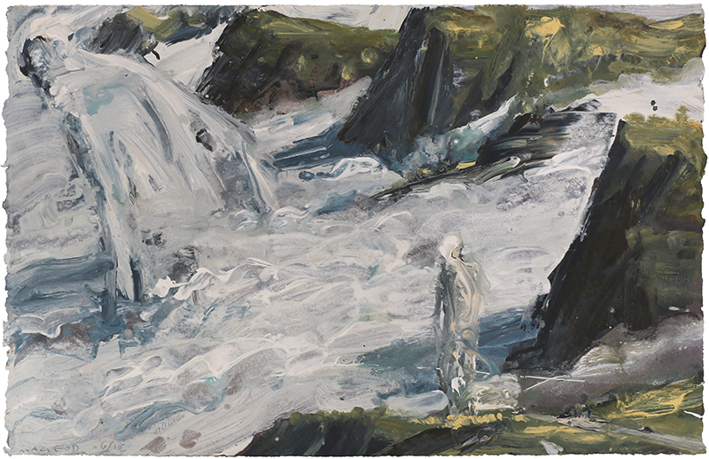 Fog Towards Gebbies Pass (SOLD) by Euan Macleod, acrylic on paper, 2018, 510 x 710mm (framed)