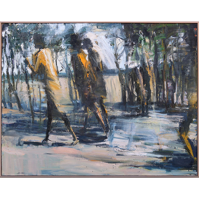 Figures Walking by Euan Macleod, 1990, oil on canvas