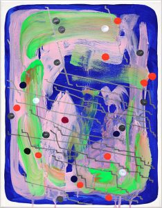 'On the nature of twilight #3', 2020, oil paint marker and acrylic on canvas, 450x350mm