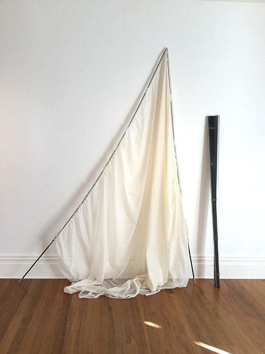 Lexical Gap, 2019, ready-made curtains, tent poles, blind, 2600 x 2400 x 700mm approx