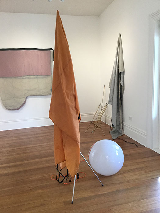 Reduct, 2019, tent, tent pole, tripod, lampshade, 2100 x 1200 x 1000mm approx