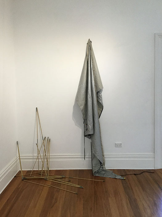 Edge of a thing, 2019, tent fragment and poles, 2400 x 2100 x 100mm approx