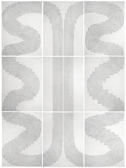 'An Untitled Journey 2012', Marian Maguire, graphite on 9 sheets of paper, 232x172cm overall.