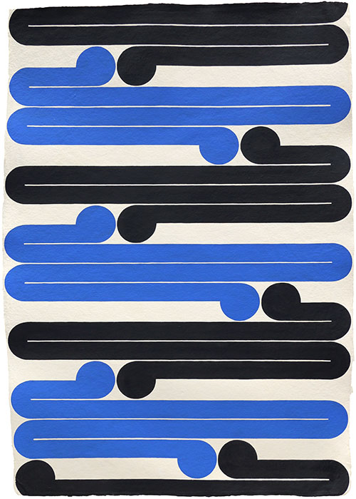 'Boogie Woogie with Gordon Walters #L5', Marian Maguire, 2018, 1000 x 670mm approx, acrylic on Indian handmade rag paper 650gsm, $3000 unf