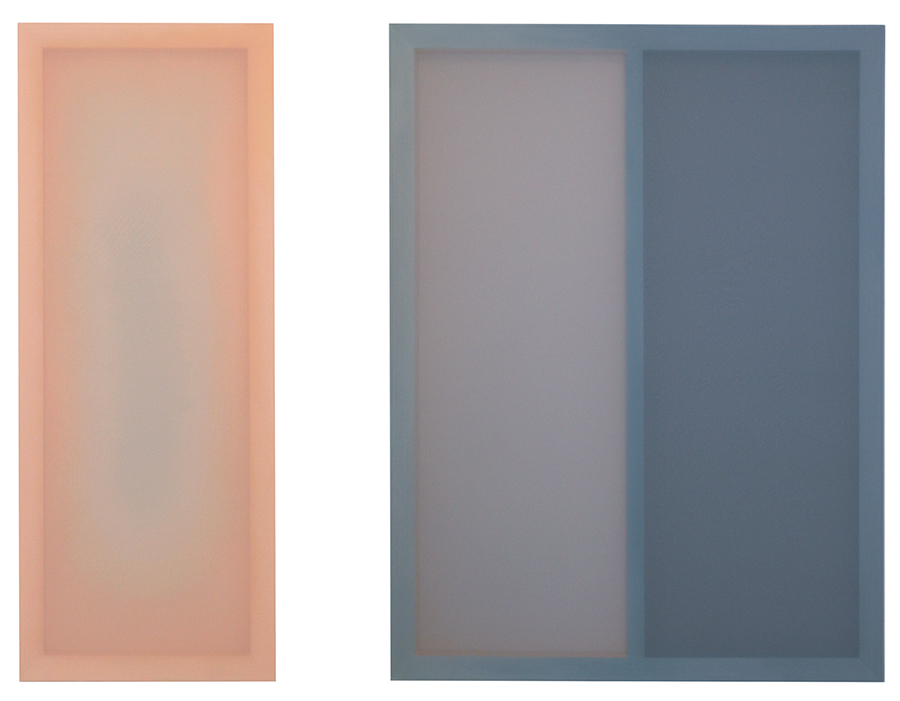 'Soft Focus', by Polly Gilroy, diptych 2019, silk, chiffon, acrylic and pine, 1150x1500mm overall, $2800