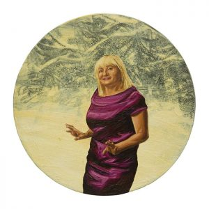 MUSE #02 by Roger Boyce, 2013/14, oil and acrylic polymer on panel, 200mm diameter, $1,750