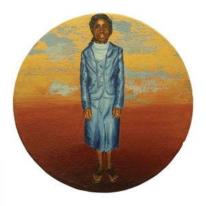 MUSE #03 by Roger Boyce, 2013/14, oil and acrylic polymer on panel, 200mm diameter, $1,750