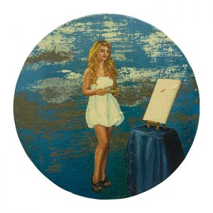 MUSE #07 by Roger Boyce, 2013/14, oil and acrylic polymer on panel, 200mm diameter, $1,750