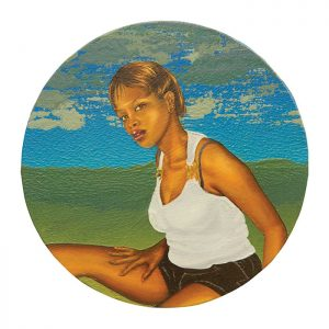 MUSE #28 by Roger Boyce, 2013/14, oil and acrylic polymer on panel, 200mm diameter, $1,750