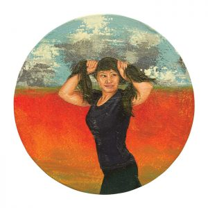 MUSE #32 by Roger Boyce, 2013/14, oil and acrylic polymer on panel, 200mm diameter, $1,750