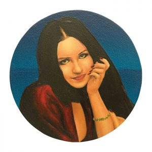 MUSE #37 by Roger Boyce, 2013/14, oil and acrylic polymer on panel, 200mm diameter, $1,750