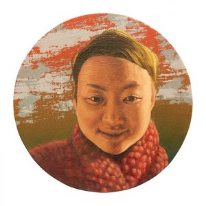 MUSE #43 by Roger Boyce, 2013/14, oil and acrylic polymer on panel, 200mm diameter, $1,750