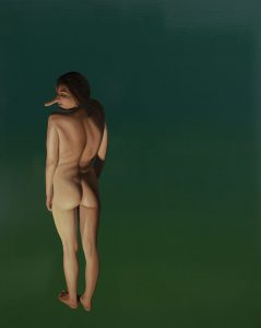 Girl with Prosthesis (Jade) by Roger Boyce, 2017, oil on board, 1045 x 850mm (framed), $10,500
