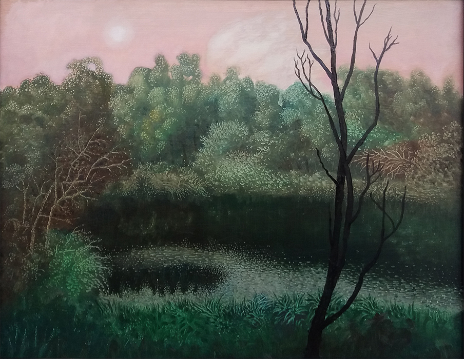 Lost lake (SOLD), Rebecca Harris, 2018 oil on board, 340 x 270mm, $800