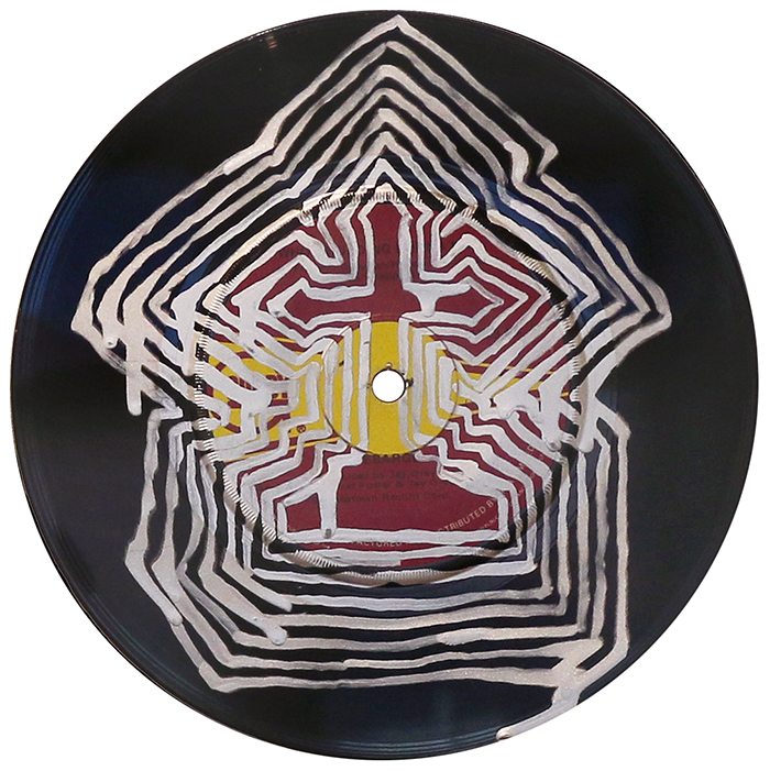 'Replayed 1', by Grant Takle, 2019 galv-enamel on vinyl, 180mm diameter, $250