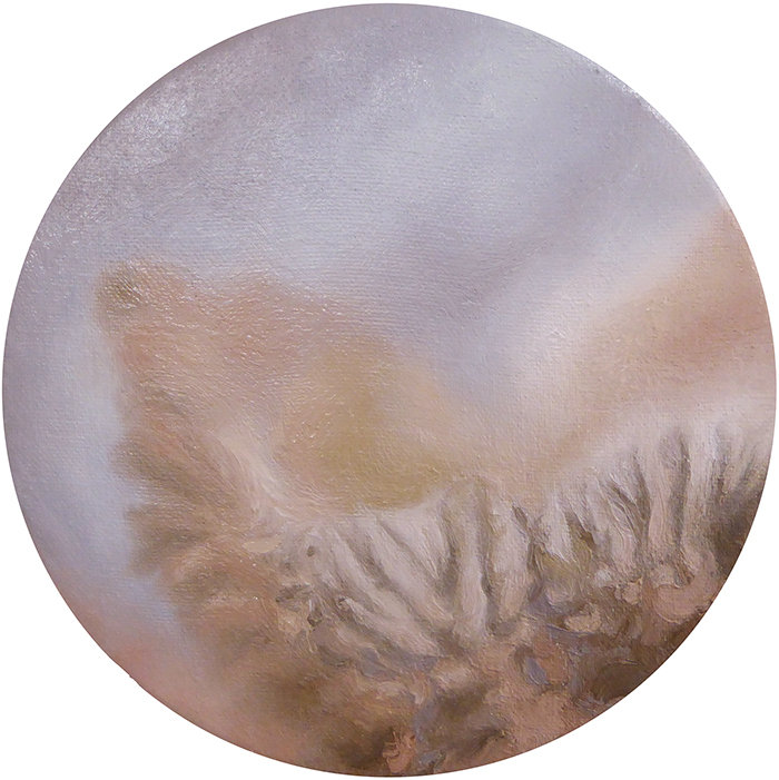 Hold me, Viv Kepes, 2018 oil on linen, 275mm diameter, $550