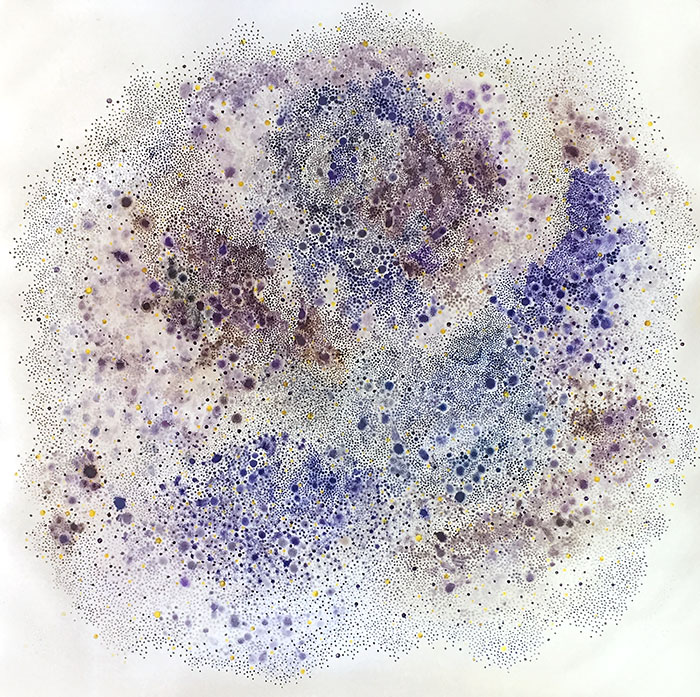 White Whisper Series - Forget me not, by Yukari Kaihori, acrylic primer and oil on paper, 1219 x 1219mm $7500