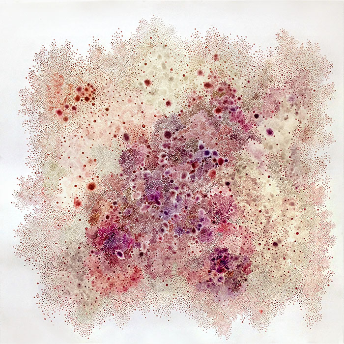 White Whisper Series - Lilac Blue, by Yukari Kaihori, acrylic primer and oil on paper, 1219 x 1219mm $7500